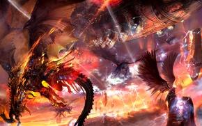 Picture stones, rocks, fire, zipper, ship, wings, dragons, battle, lineage, kamael