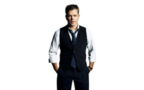 Wallpaper costume, Matt Damon, photoshoot, Matt Damon, white background, actor, vest, pants, shirt, tie