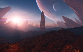 Picture the sun, light, rocks, planet, obelisk