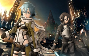 Picture weapons, girls, Sword Art Online, Kirito, Kirigaya Kazuto, Gun Gale Online, Shinon, Shino Wand
