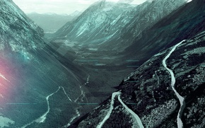 Picture mountains, treatment, Road