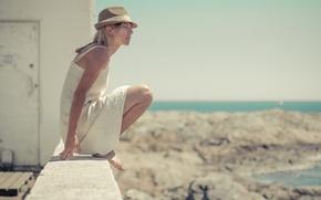 Picture sea, beach, rocks, hat, dress, rock, beach, white dress, dress, sea, hat, looking, white dress, …