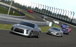 Picture track, Nissan GTR, race. stadium