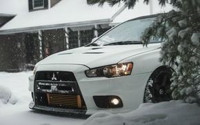 Picture Mitsubishi, Lancer, house, winter, Evolution X, show