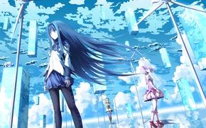 Picture the sky, clouds, girls, anime, art, mahou shoujo madoka magica, homura akemi, madoka kaname, Tomoe …