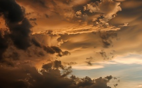 Picture the sky, clouds, rays, sunset, the sun