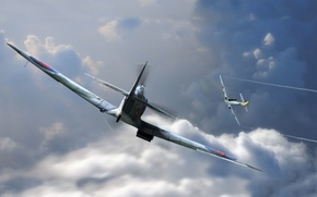 Picture aviation, graphics, art, Spitfire, bf-109, emil, man and machine