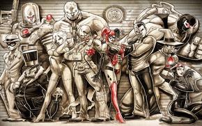 Picture Joker, Cat woman, Harley Quinn, Penguin, DC Comics, Scarecrow, Poison Ivy