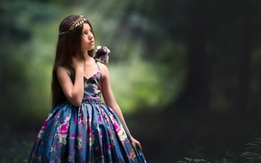 Picture background, dress, girl, monkey