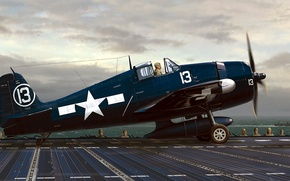 Wallpaper figure, F6F, art, Hellcat, carrier-based fighter, the carrier, Grumman