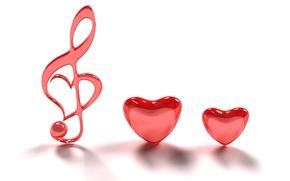 Picture love, music, Wallpaper, romance, minimalism, hearts, pink, treble clef
