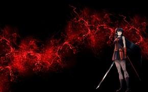 Picture girl, sword, killer, anime, art, Akame, Akame ga Kill