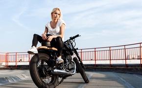 Wallpaper bike, girl, blonde, the parapet, biker, motorcycle, helmet