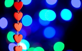 Wallpaper love, background, widescreen, Wallpaper, mood, heart, blur, hearts, red, wallpaper, red, love, widescreen, background, bokeh, ...