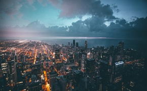 Wallpaper clouds, the city, lights, the evening, Chicago, USA
