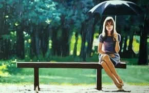 Picture greens, girl, trees, bench, Park, rain, mood, umbrella, Thomas Saliot, Right as Rain