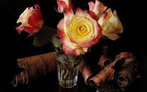 Picture flower, water, flowers, glass, roses, bouquet, bark, beautiful, elm