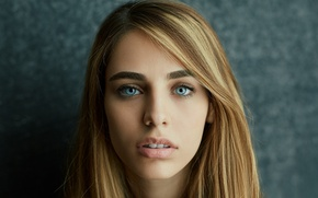 Picture look, girl, face, background, portrait, makeup, hairstyle, beautiful, bokeh, closeup, Rus