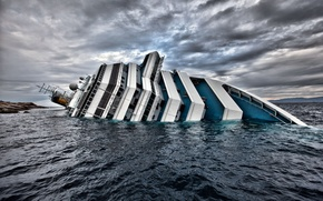 Picture Wallpaper, ship, the crash, Liner, Italy, liner, wallpapers, Titanic, Costa, Concordia, Concordia, Costa