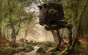 Picture forest, trees, star wars, robot, deer, art, AT-ST, Imperial AT-ST Scout Walker, AT-ST Walker