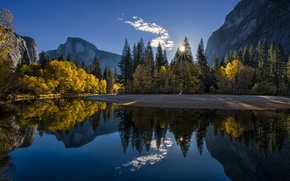 Picture autumn, forest, mountains, lake, sunrise, morning, CA, Yosemite, National Park