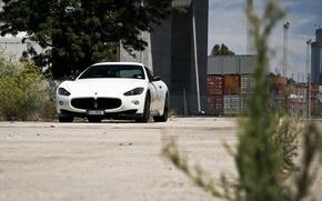 Picture white, white, maserati, front view, Maserati, primer, granturismo, GranTurismo, MC road