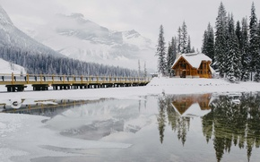 Picture winter, forest, snow, mountains, house, the bridge