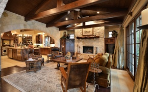 Picture style, interior, kitchen, fireplace, Austin, living room, ranch, Steiner Ranch