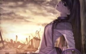 Picture the sky, girl, clouds, sunset, anime, tears, art, form, ruins, schoolgirl, mahou shoujo madoka magica, …