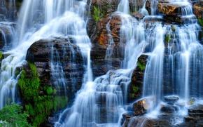 Wallpaper rock, Brazil, Goias, Chapada dos Veadeiros National Park, waterfall