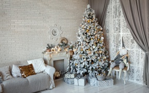 Wallpaper sofa, wall, toys, tree, interior, Christmas, gifts, New year, tree, fireplace, curtains, dwarf