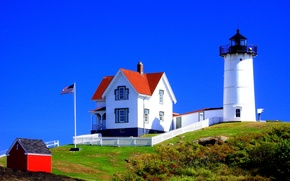 Picture lighthouse, flag, house, USA