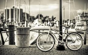 Picture bridge, bike, boats, solar, Marina