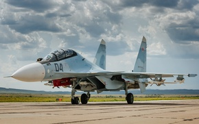 Picture the sky, fighter, the airfield, Russian, multipurpose, double, Su-30CM