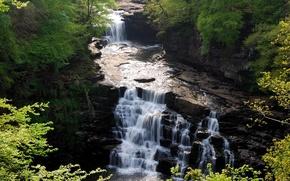 Wallpaper Forest, Rocks, Waterfall