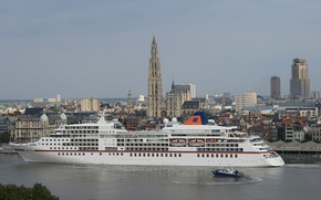 Wallpaper Antwerp, Antwerp, Scheldt River, liner, Belgium, Belgium, the city, boat, cruise, cruise liner, the river ...