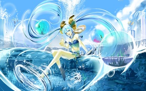 Picture water, girl, anime, art, Vocaloid