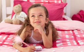 Picture children, childhood, sweetheart, bed, child, Bear, handle, Notepad, notebook, cute, child, bed, lovely, cute, childhood, …