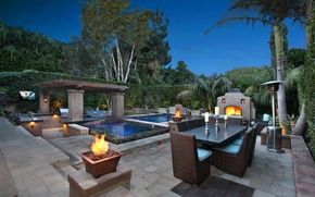 Picture trees, night, table, candles, pool, fireplace