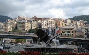Picture mountains, home, Italy, fountain, Genoa, the area in front of the Maritime station