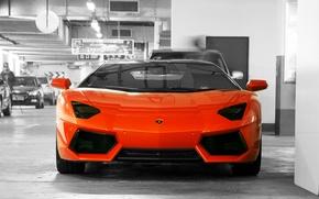 Picture orange, wall, the door, Parking, lamborghini, the front, orange, aventador, lp700-4, Lamborghini, aventador