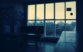 Wallpaper room, darkness, window, rain, drops