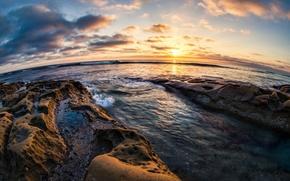 Picture sunset, stones, coast, horizon, CA, Pacific Ocean, California, San Diego, The Pacific ocean, San Diego, ...