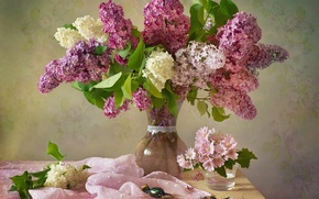 Picture flowers, branches, glass, candy, fabric, vase, still life, lilac