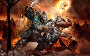 Wallpaper battle, warrior, armor, Warhammer, hammer