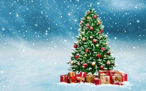 Picture winter, snow, balls, toys, tree, New Year, Christmas, gifts, Christmas, winter, snow, decoration, Merry