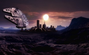 Picture art, star wars, station, planet, millennium falcon, Millennium Falcon, Star Wars, the dome