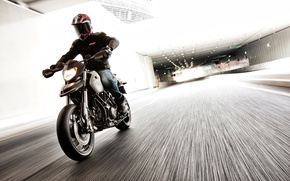 Picture road, the city, motorcycle, Ducati, motorcyclist