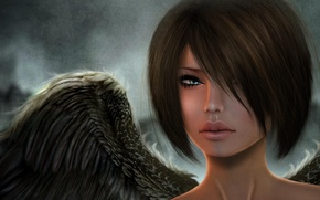 Picture look, girl, face, rendering, wings, angel
