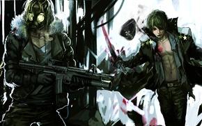 Picture weapons, blood, katana, anime, art, cigarette, gas mask, headband, guys, stars, cap, genki-de